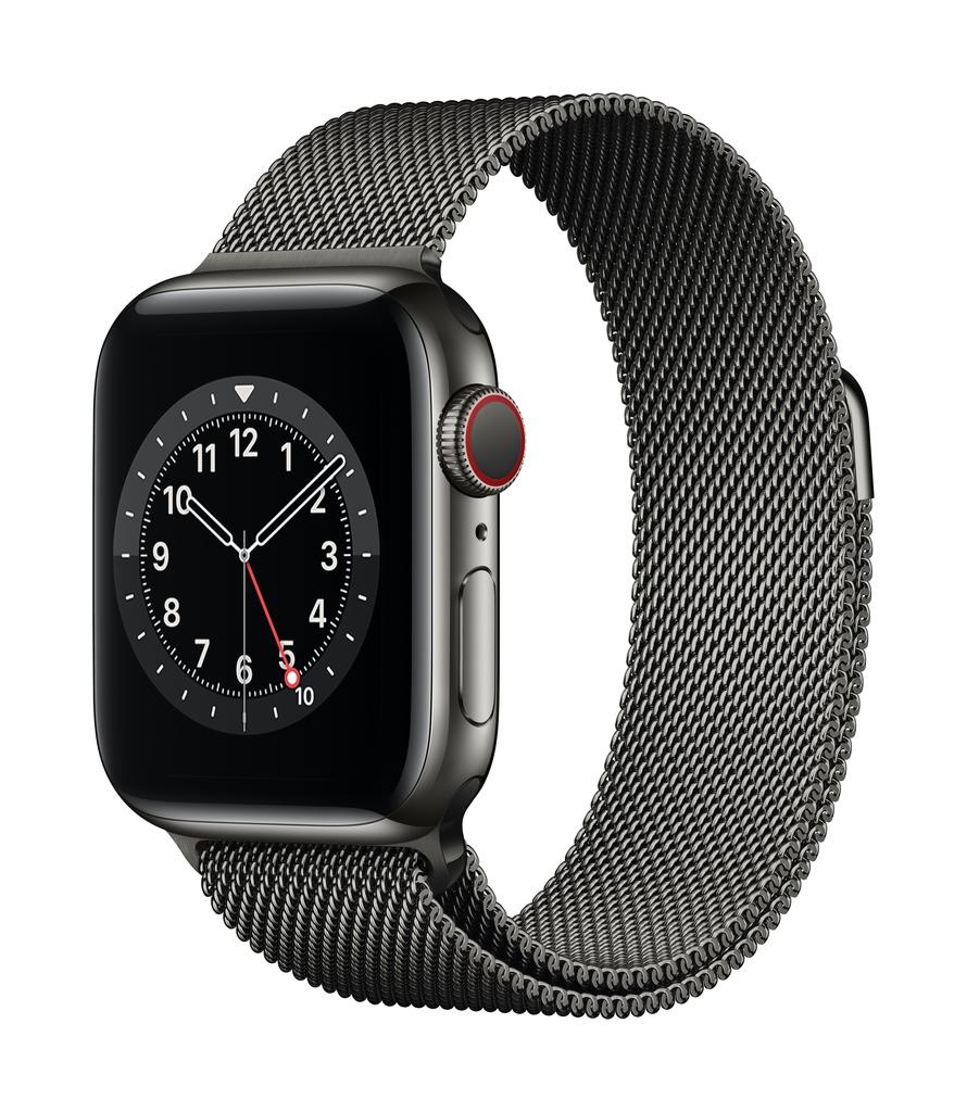 Apple Series 6 GPS + Cellular, 44mm Graphite Stainless Steel Case with Graphite Milanese Loop