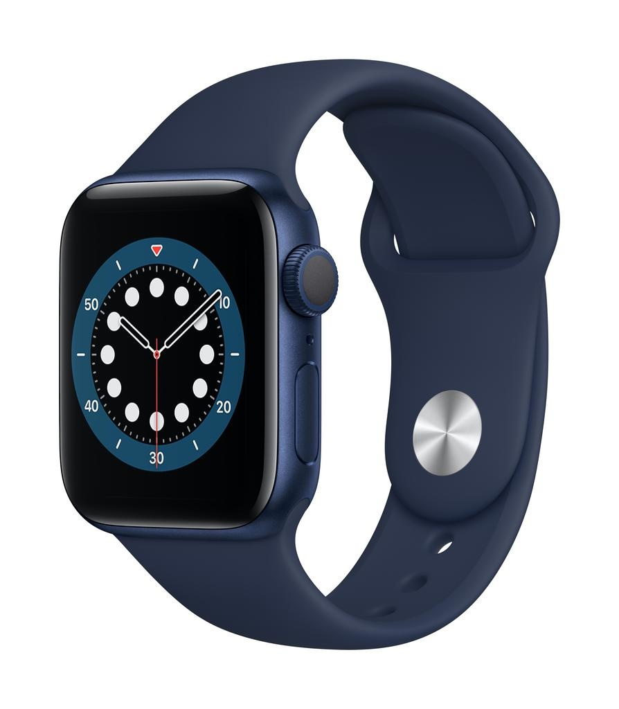 Apple Series 6 GPS, 44mm Blue Aluminium Case with Deep Navy Sport Band
