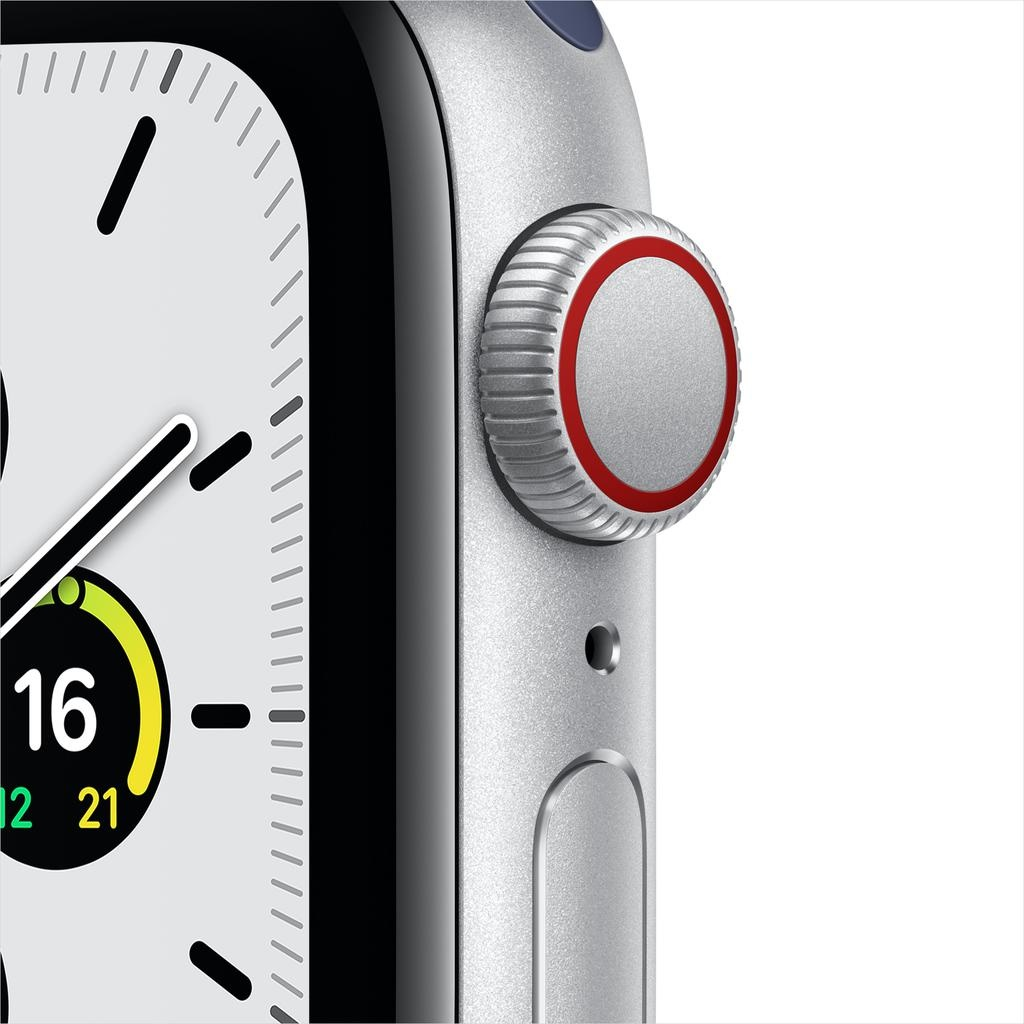 Apple SE GPS + Cellular, 40mm Silver Aluminium Case with Deep Navy Sport Loop