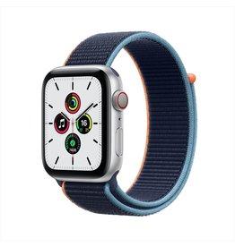 Apple SE GPS + Cellular, 44mm Silver Aluminium Case with Deep Navy Sport Loop