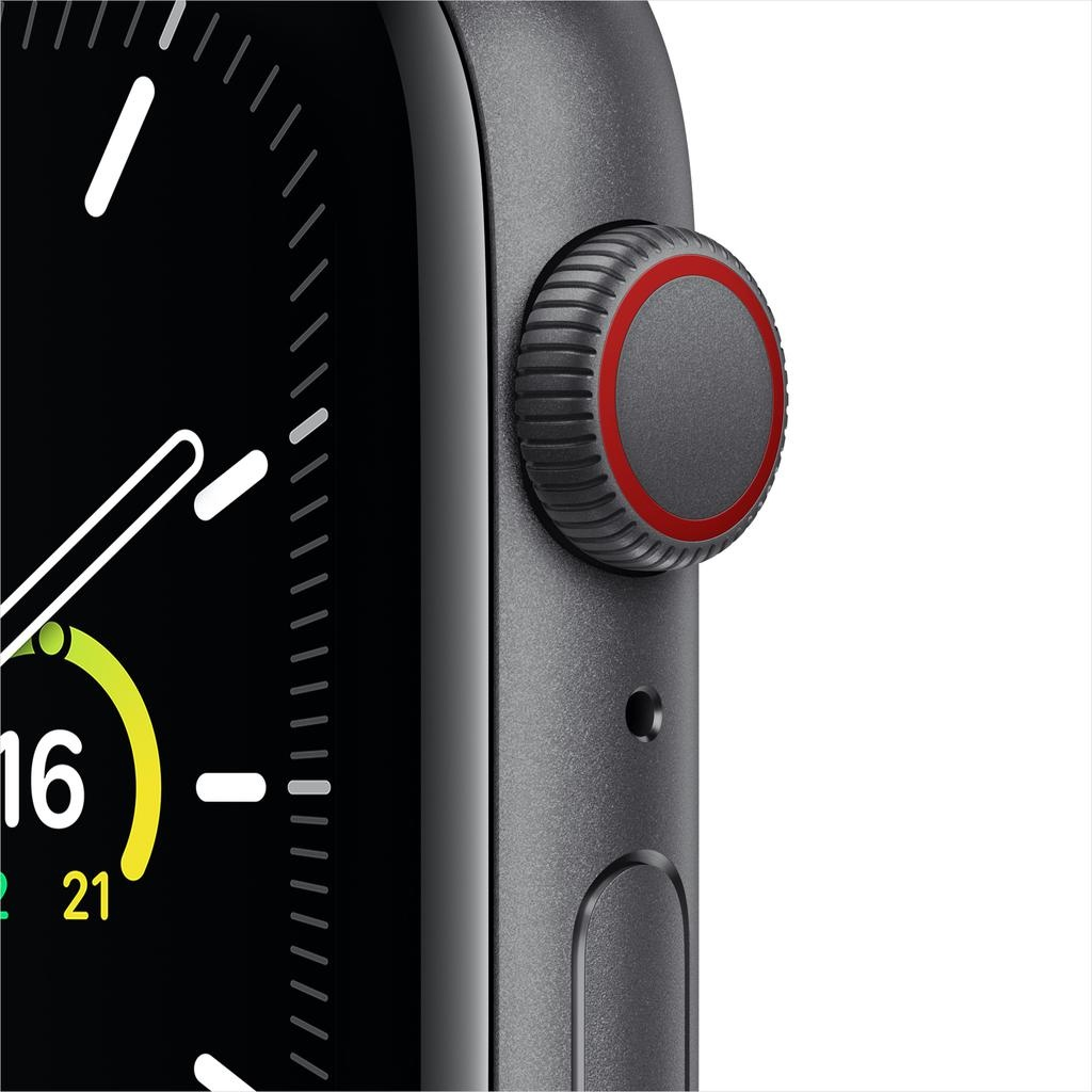 Apple SE GPS + Cellular, 44mm Space Gray Aluminium Case with Black Sport Band