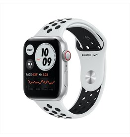 Apple Nike SE GPS + Cellular, 44mm Silver Aluminium Case with Pure Platinum/Black Nike Sport Band