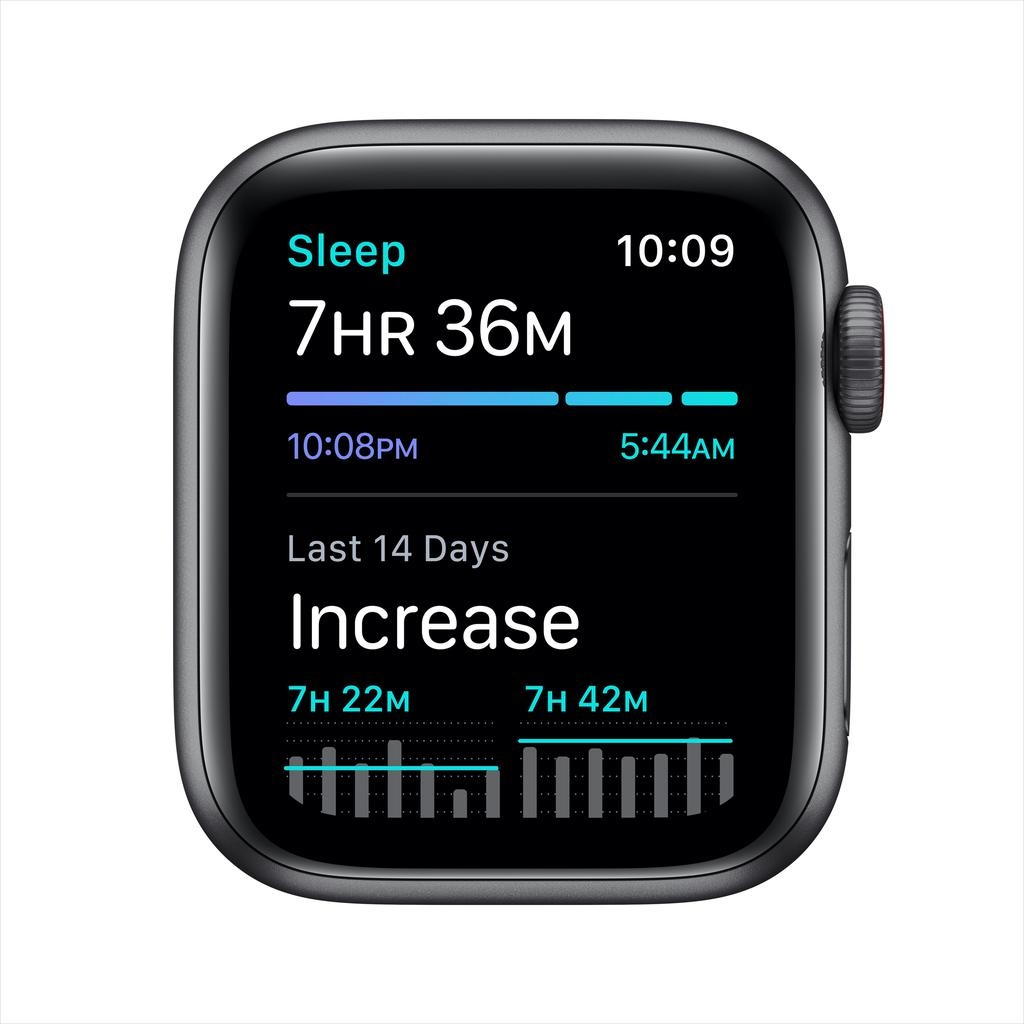 Apple SE GPS + Cellular, 40mm Space Gray Aluminium Case with Black Sport Band