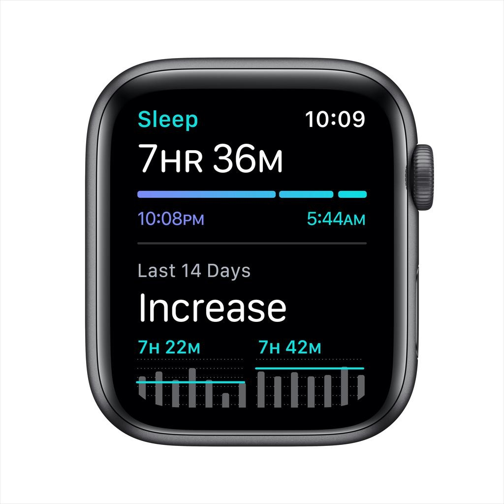 Apple SE GPS, 44mm Space Gray Aluminium Case with Black Sport Band