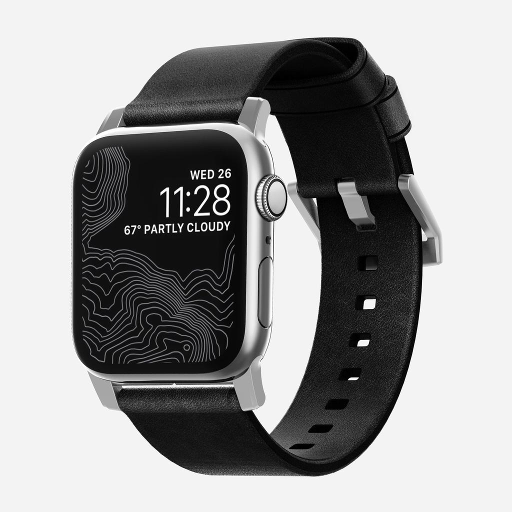 Nomad Nomad 44mm/42mm Modern Strap for Apple Watch - Silver Hardware / Black Leather