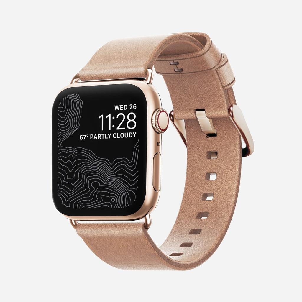 Nomad Nomad 40mm/38mm Modern Strap Slim for Apple Watch - Gold Hardware / Nude Leather