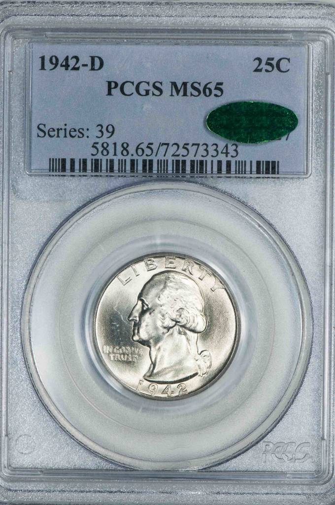 1942 D PCGS MS65 CAC Washington Quarter