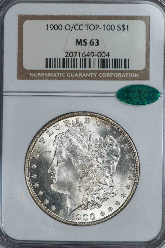 1900 O/CC Top 100 NGC MS63 Morgan Silver Dollar