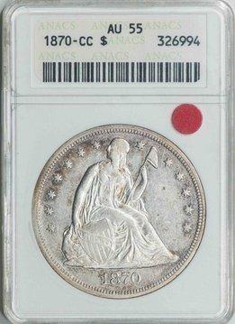 1870 CC ANACS AU55 Seated Liberty Dollar