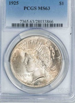 1925 PCGS MS63 Peace Silver Dollar