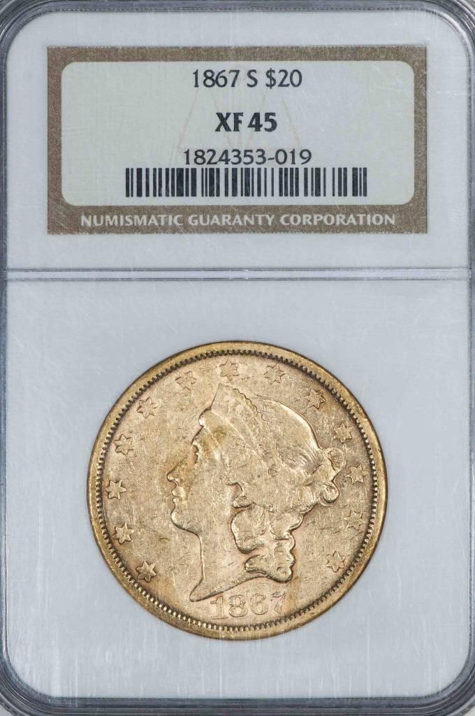 1867 S $20 NGC XF45 Liberty Head Double Eagle