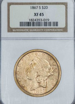 1867 S $20 NGC XF45 Liberty Head Double Eagle