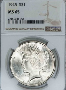 1925 NGC MS65 Peace Dollar