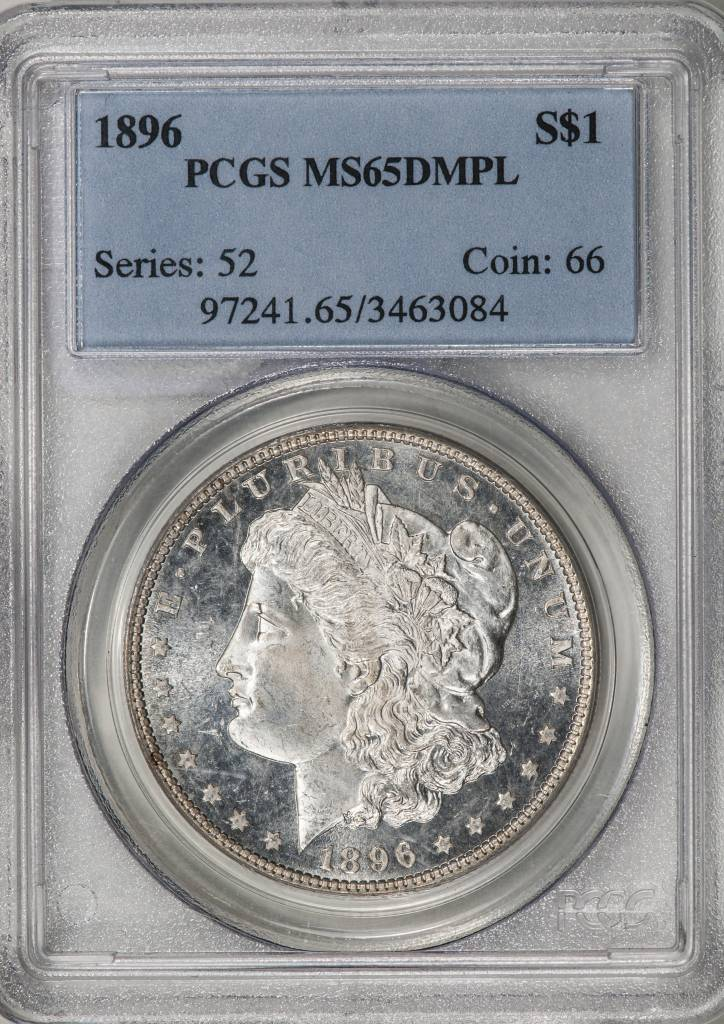 1896 PPCGS MS65DMPL Morgan Silver Dollar