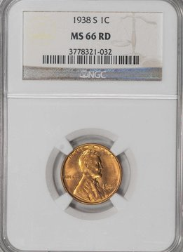 1938 S NGC MS66 RD Lincoln Cent