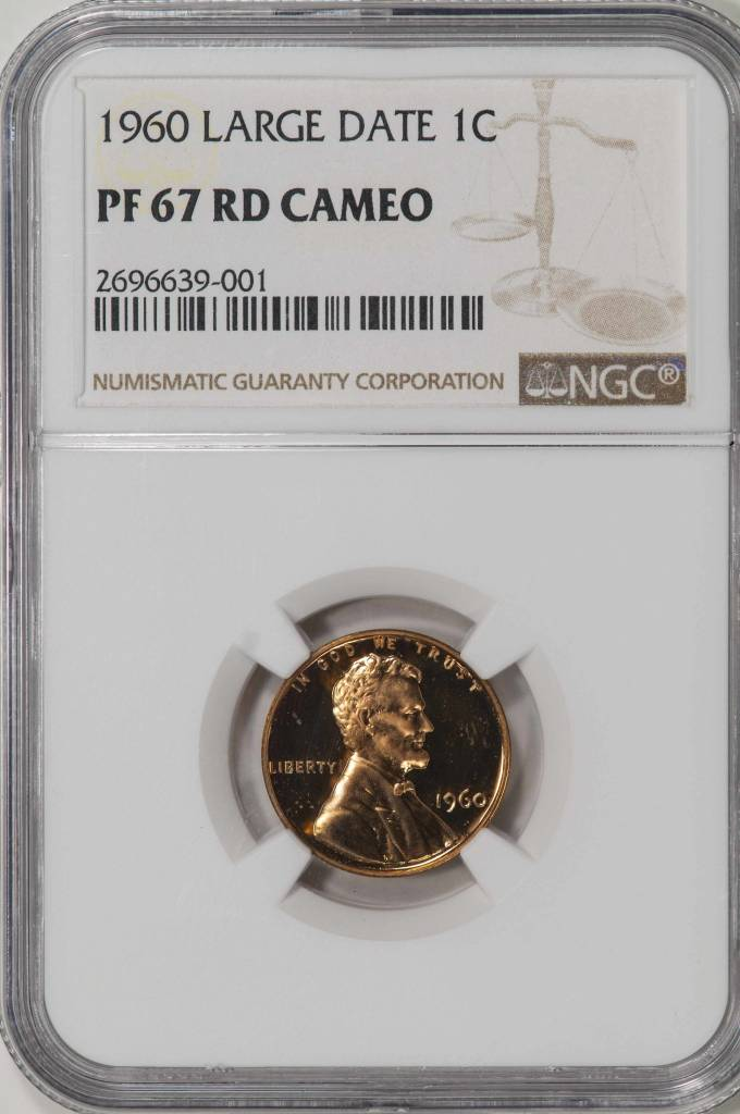 1960 LG Date NGC PF67 Rd Cameo Lincoln Cent