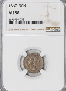 1867 NGC AU58 Three Cent Nickel