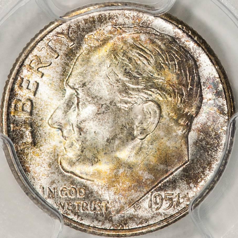 1951 S PCGS MS67 FB Mercury Dime