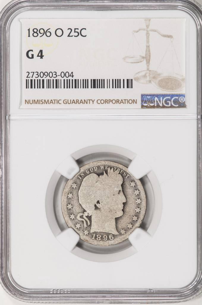 1896-O NGC G4 Barber Quarter