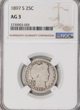 1897-S NGC AG3 Barber Quarter