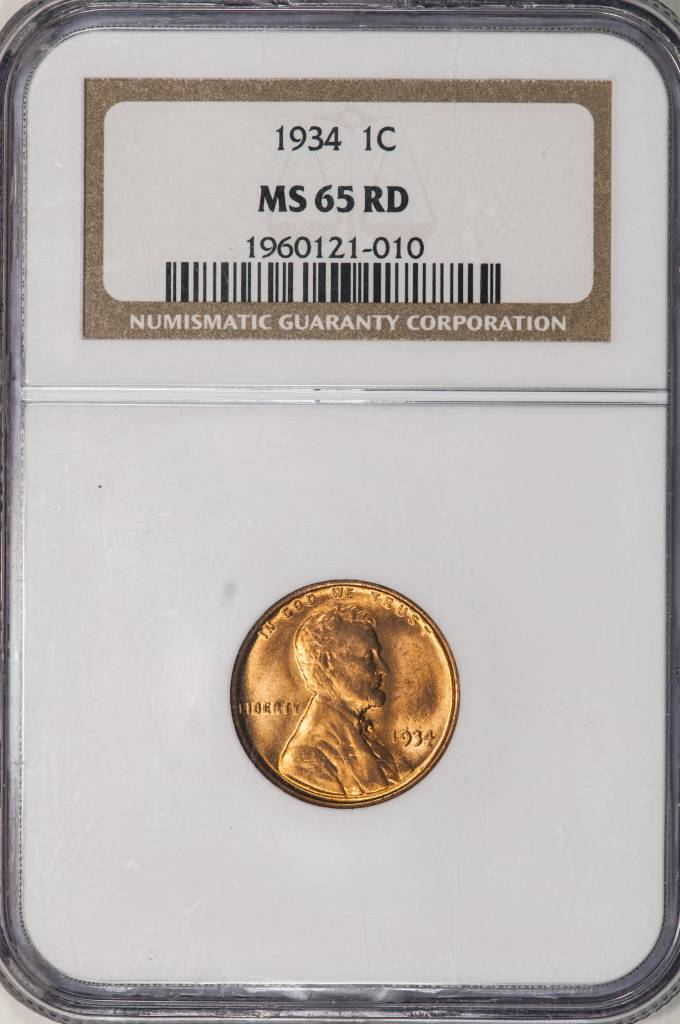 1934 NGC MS65 RD Lincoln Cent