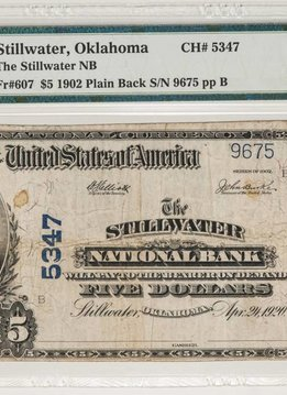 1902 PMG VF25 $5 Plain Back Stillwater Oklahoma National Bank Note CH#5347