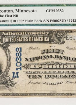 1902 PMG VF20 $10 Plain Back Ironton Minnesota National Bank Note CH#10382