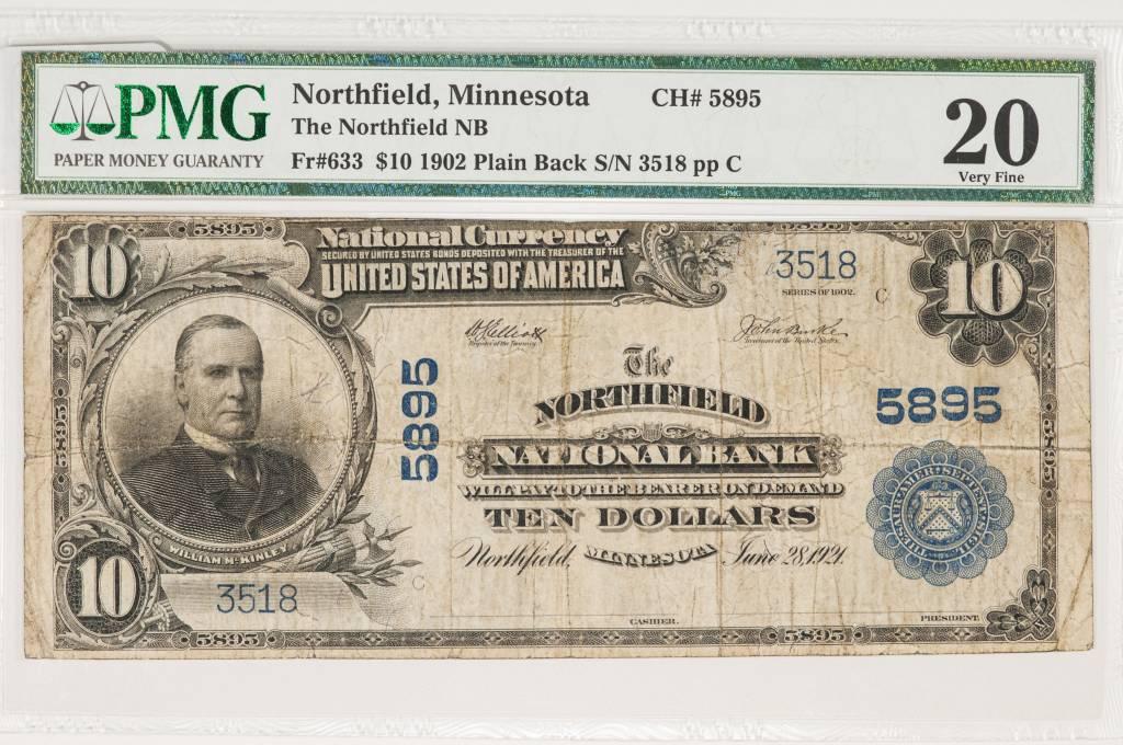 1902 PMG VF20 $10 Plain Back $10 Northfield Minnesota CH#5895