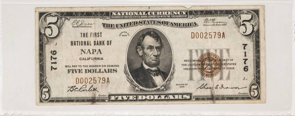1929 Ty.1 PMG VF25 $5 Napa California National Bank Note CH#7176 Fr#1800-1