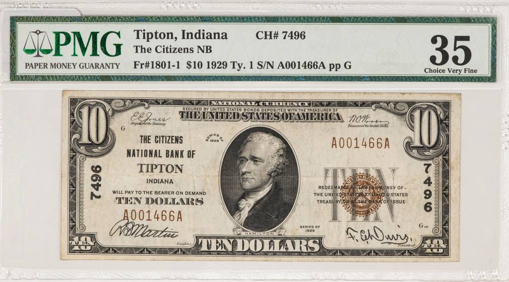 1929 Ty.1 PMG VF35 Tipton Indiana Citizens National Bank Note CH#7496