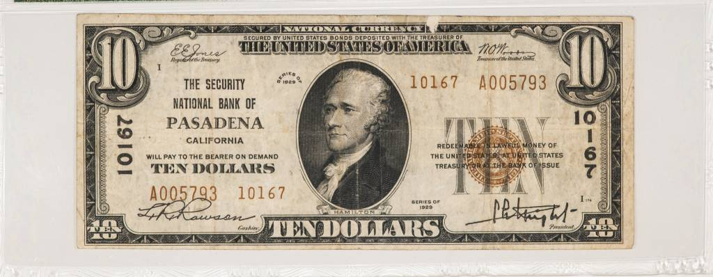 1929 Ty.2 PMG VF25 $10 Pasadena California National Bank Note CH#10167