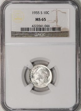 1955 S NGC MS65 Roosevelt Dime