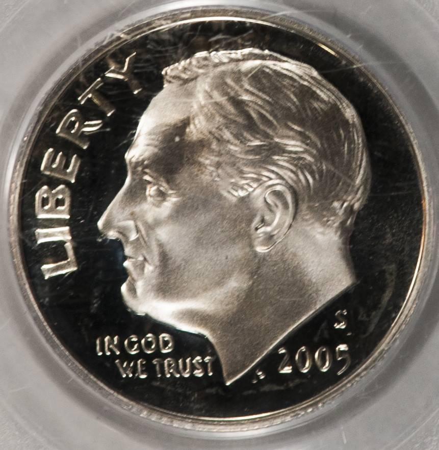 2005 S PCGS PR69DCAM Silve Roosevelt Dime