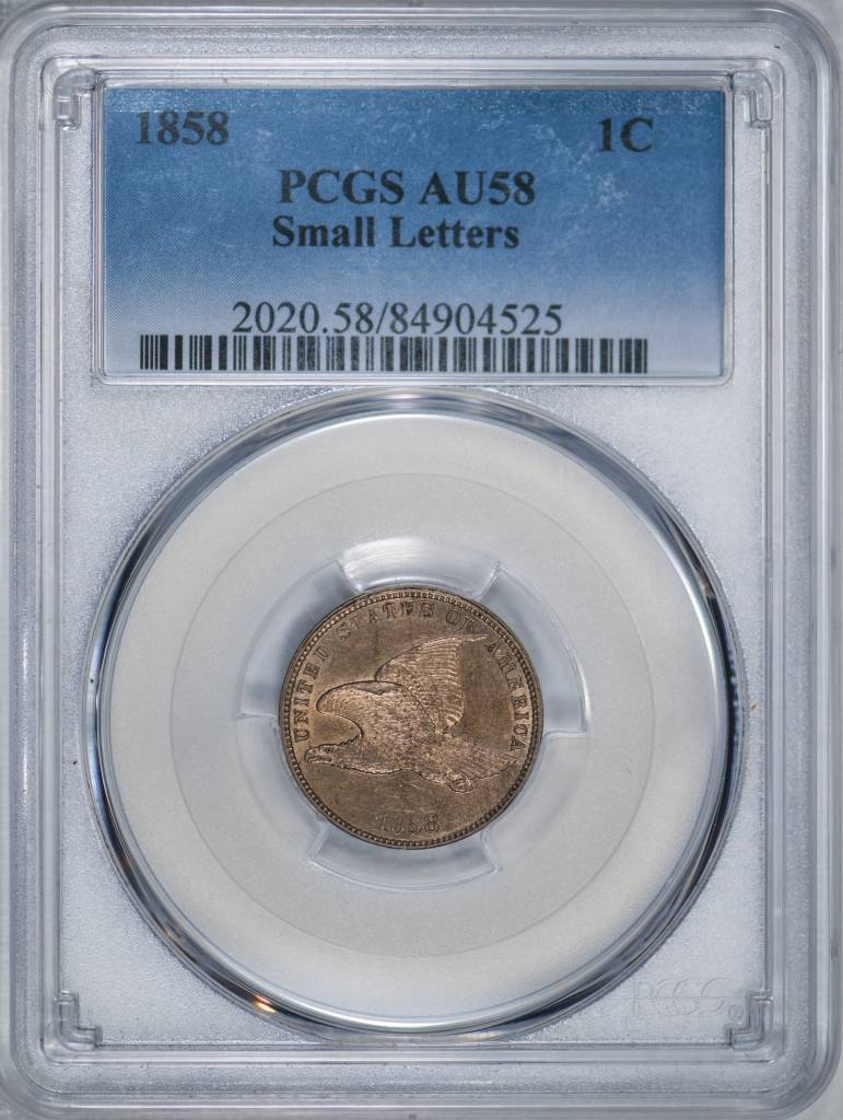 1858 PCGS AU58 Small Letters Flying Eagle Cent