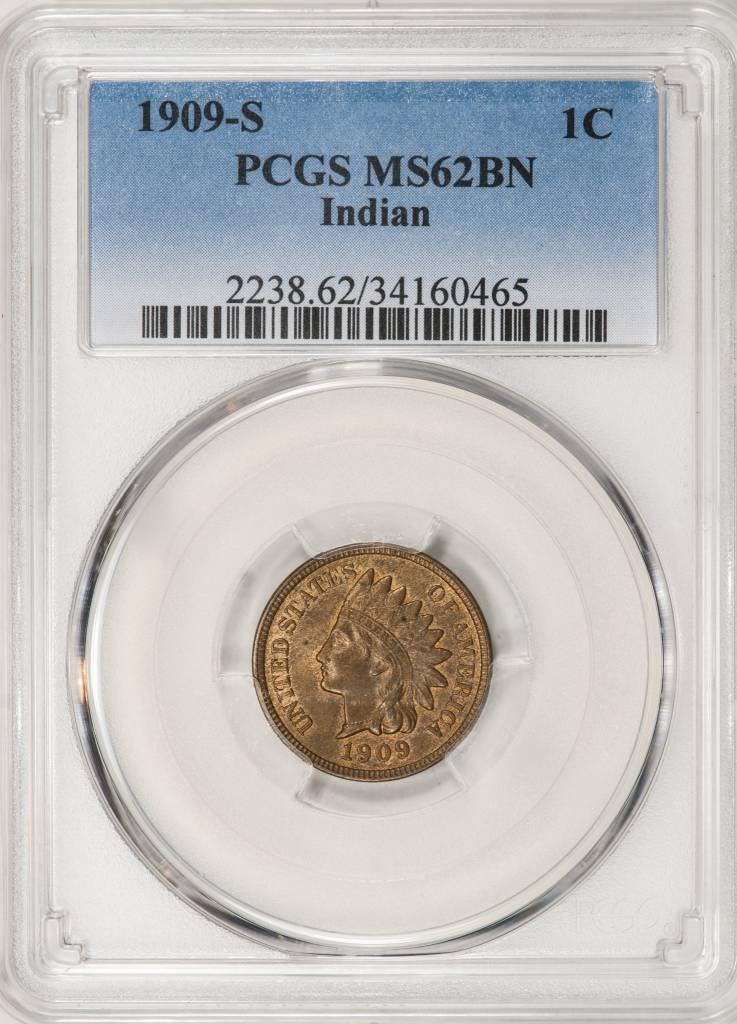 1909 S PCGS MS62BN Indian Cent