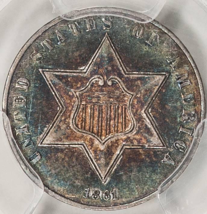 1861 PCGS AU55 Three Cent Silver