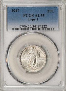 1917 PCGS AU55 Type 1 Standing Liberty Quarter