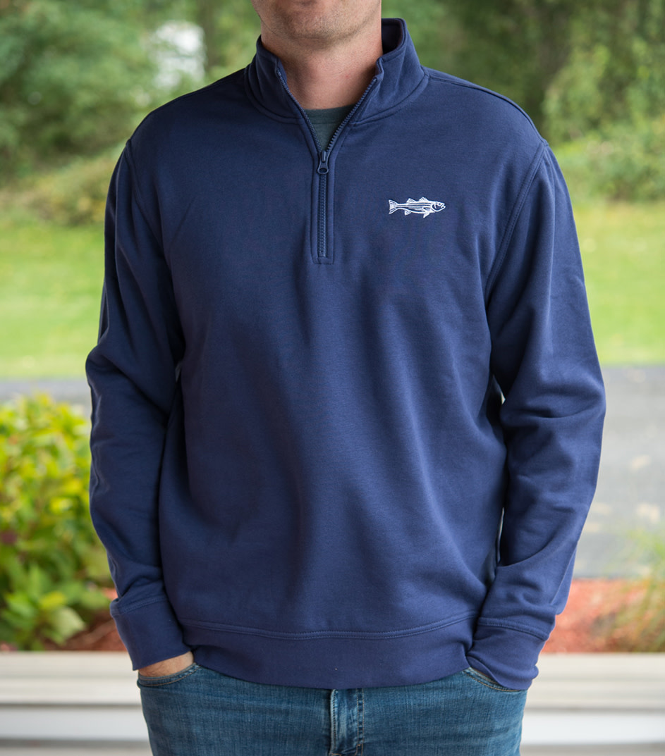 Stripers & Suede 1/4 zip Pullover