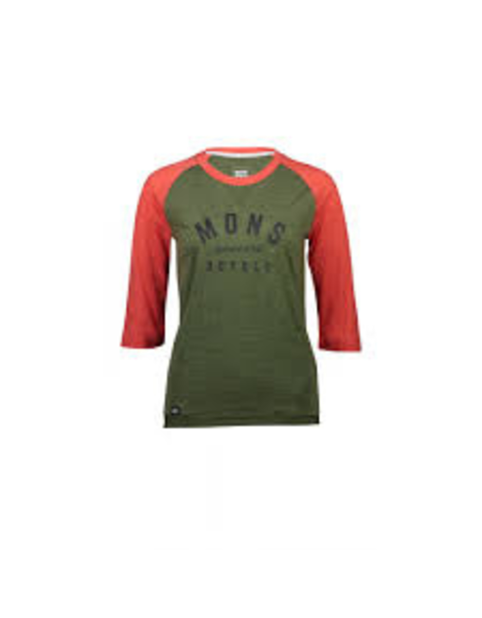 Mons Royale Mons Royale Womens Small Zephyr Lite 3/4 Tee Green / Orange