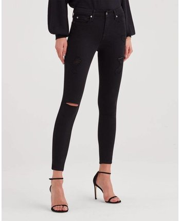 7 For All Mankind The B(air) Ankle Skinny - Black Destruction