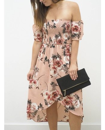 Off Shoulder Floral Woven Dress