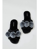 PRETTY YOU LONDON ASPEN SLIPPER W/POM POMS
