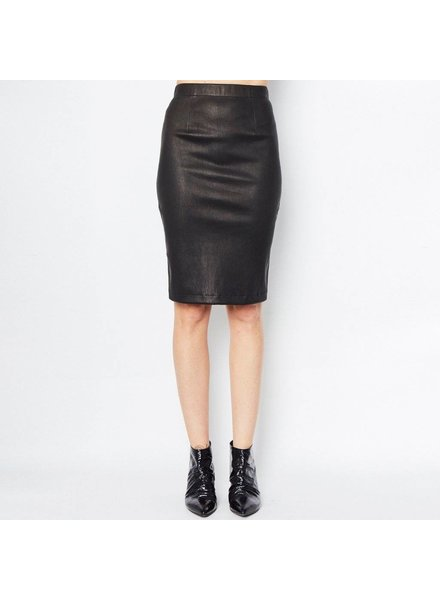 Elaine Kim Reed Leather Pencil Skirt