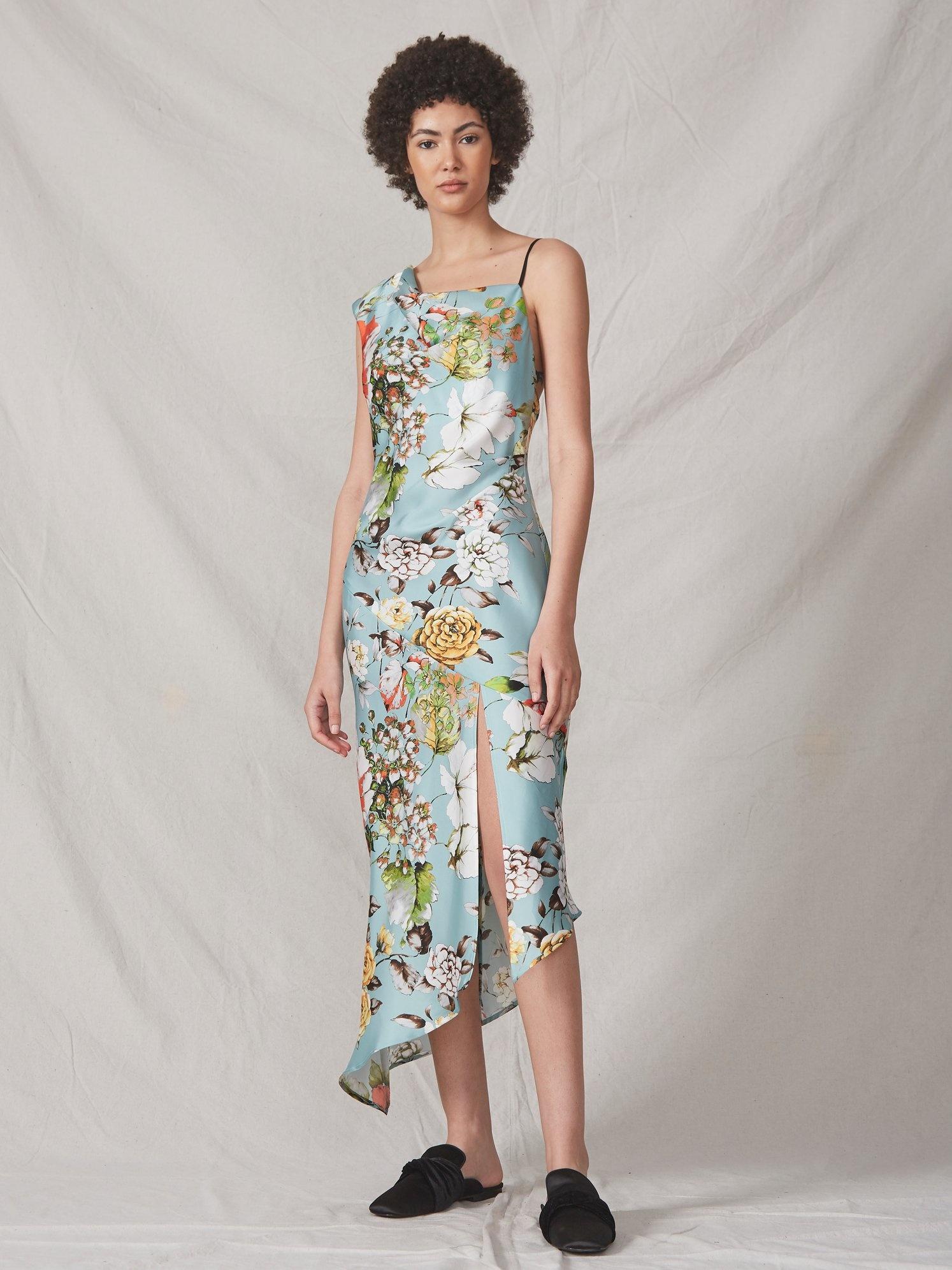 ALLEN SHWARTZ Everly Asymmetric Dress