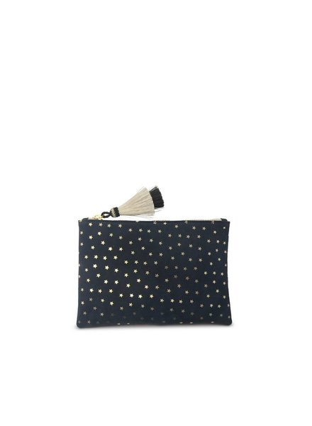 KEMPTON&CO Navy Suede Gold Foil Stars Small Pouch