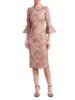 THEIA Tissue Weight Stretch Cloque Bateau Neck Cocktail Dress
