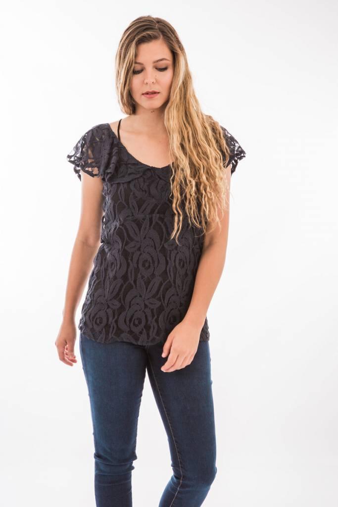 TSALT Lace Top Black M