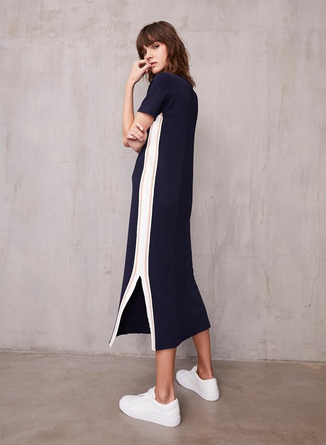 Autumn Cashmere Midi Dress w/Racing Stripes