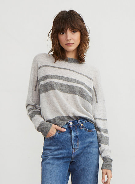 Autumn Cashmere Crop Boxy Stripe Crew