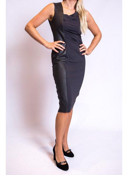 Iris Setlakwe Dress w/Gathers & Leather Detail